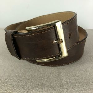 Levi's Brown Leather Belt Silver Tone Buckle